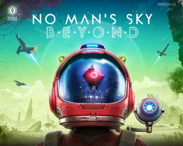 "No Man's Sky VR banner that says ""No Man's Sky BEYOND""."