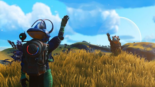 A traveller in No Man's Sky BEYOND wearing his exusuit interacting with a Non Playable Characters.