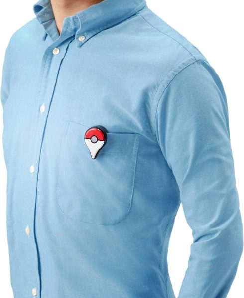 Pokemon Go Plus clipped onto a shirt pocket
