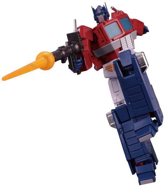 Optimus Prime posed while shooting his blaster.