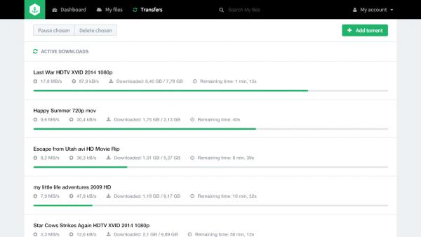 bitport torrent client user interface