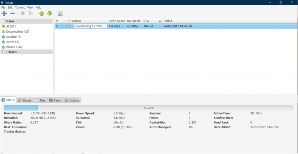 deluge torrent client user interface