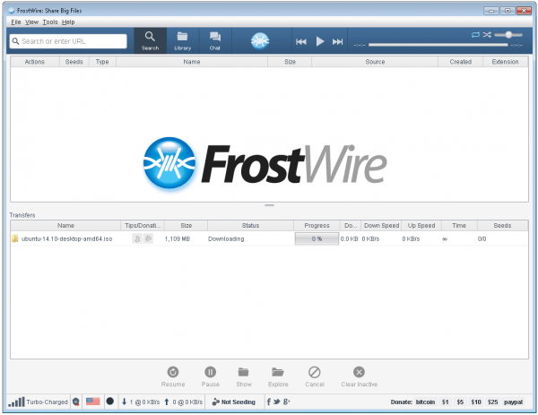 frostwire torrent client user interface