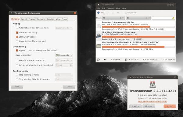 transmission torrent client user interface