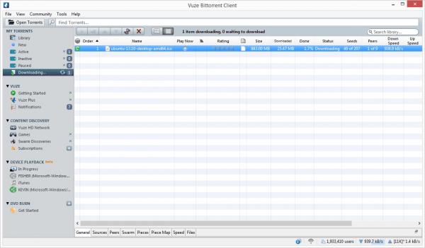 vuze torrent client user interface