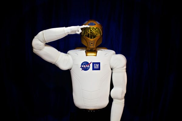 One of NASA's Humanoid Robots shown doing a salute.