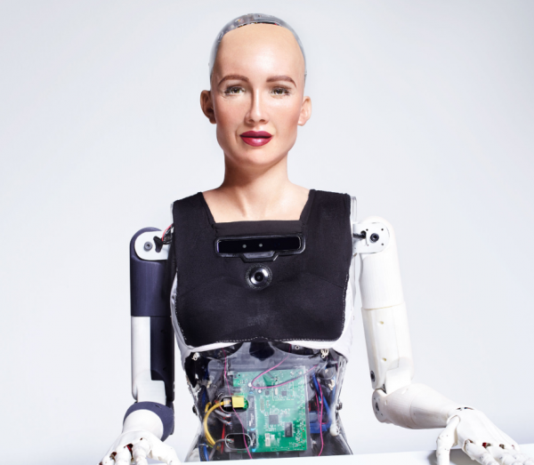 Sophia, a humanoid with a robot face like human