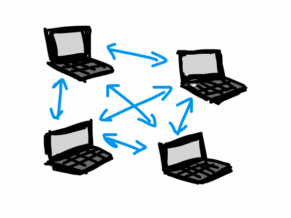 photo showing four laptops connected to a p2p network and sharing files through torrents