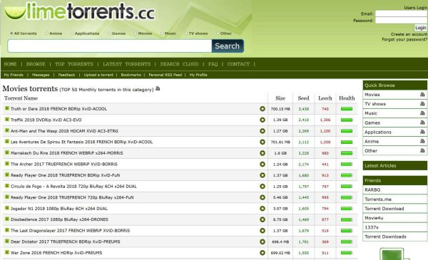 photo showing the LimeTorrents torrent site full home page