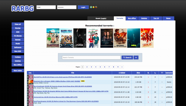 photo showing the RARBG torrent site full home page