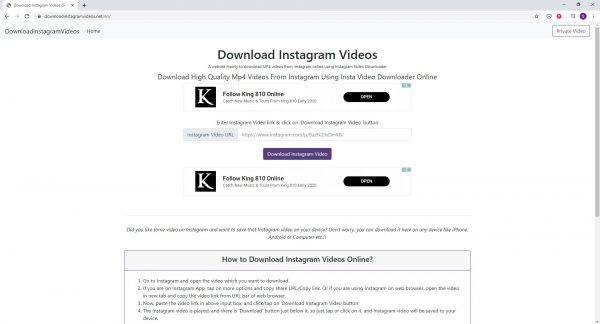 For a simple and straightforward design, try DownloadInstagramVideos.