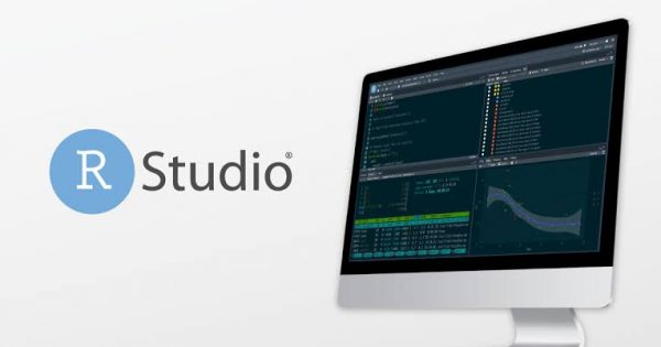 Laptop shows R studio software with logo