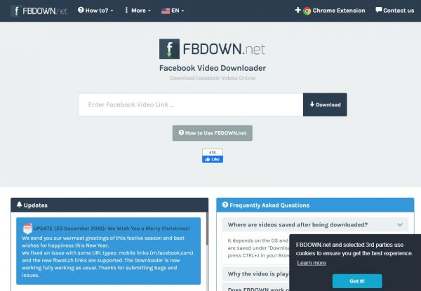 fbdown.net is one of the best when learning how to download facebook videos