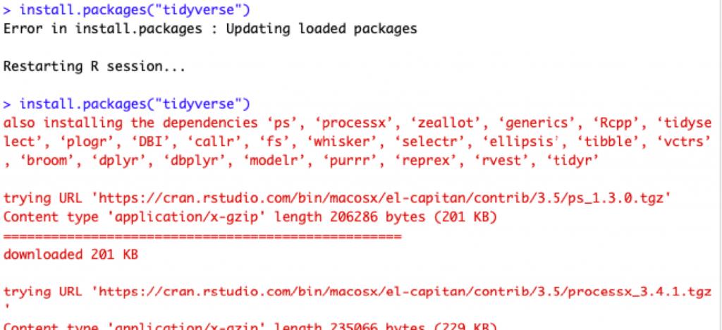 Screenshot of R programming from Tidyverse and ggplot2 instalation