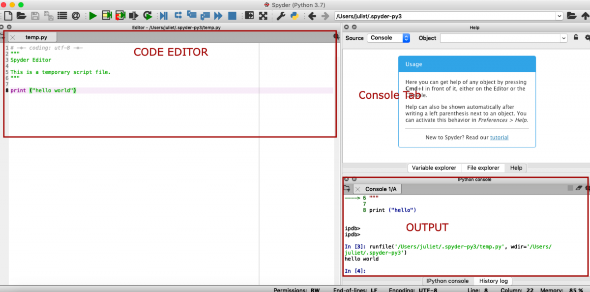 A window that displays anaconda code editor