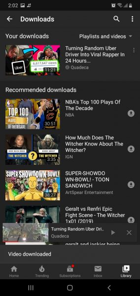 Downloading videos for offline use is easy on the YouTube app