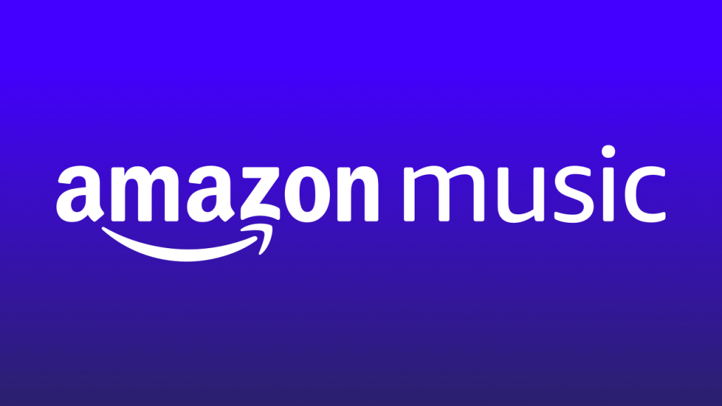 "A white text in an indigo background that reads ""Amazon Music""."