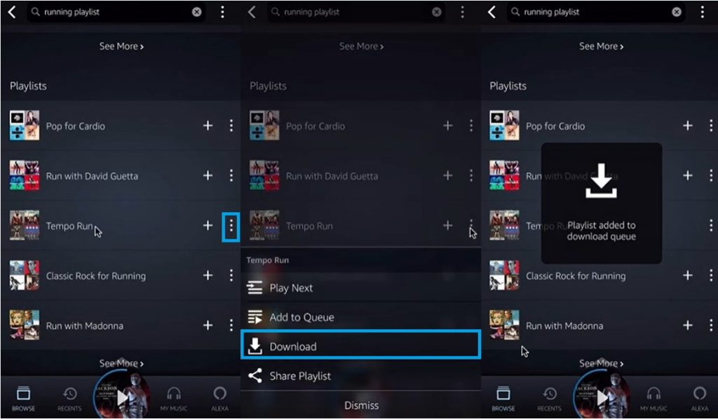 Step-by-step guide of downloading music from Amazon Music Android App