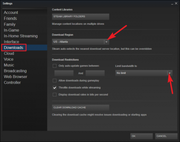 The second step to raising download speed with Steam.