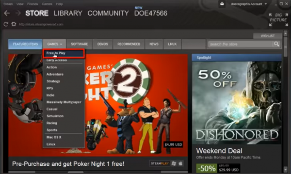 The first step to downloading a free game from Steam.