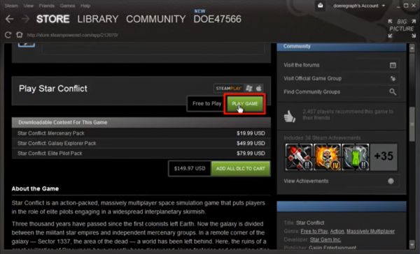 The third step to downloading a free game from Steam.