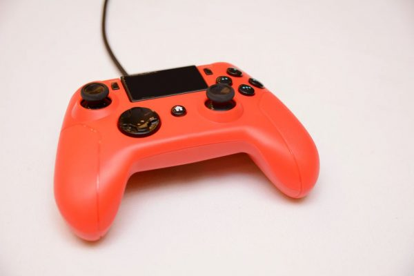 Orange wired game controller