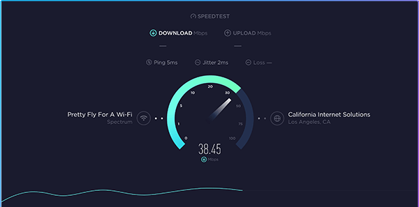 Internet speed ping test