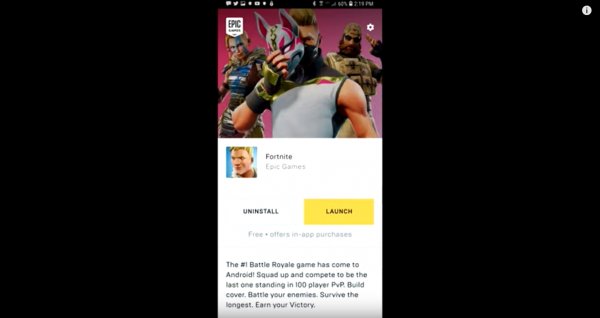 Fortnite isn't available yet on mobile app stores