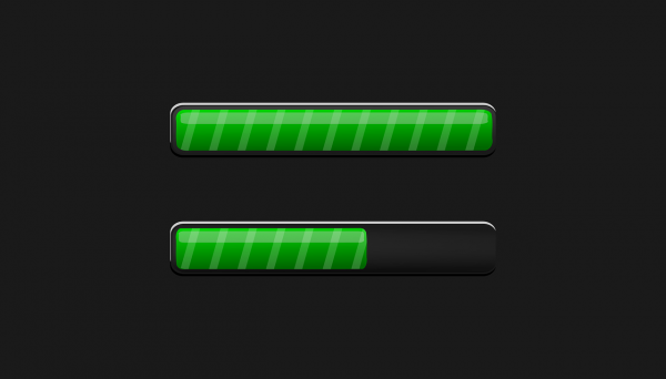 Two progress bars loading; one is completed, the other one is halfway through.
