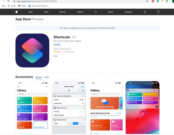 shortcuts app on ios