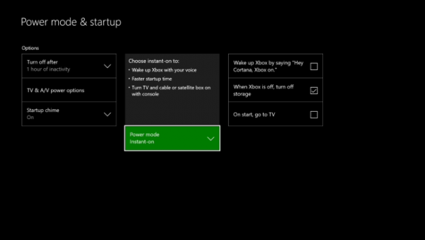 instant on feature on xbox one