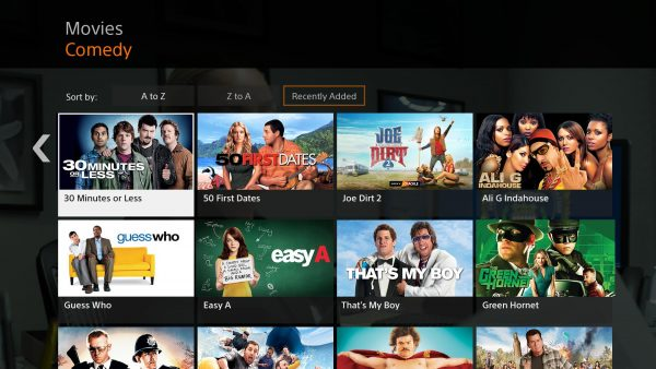 The interface for Sony Crackle