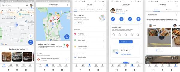 The UI of the Google Maps navigation app.