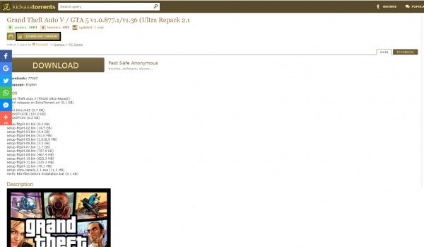 Inner page of a file in Kickass Torrents