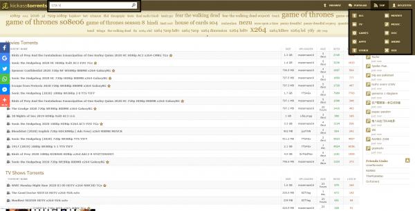 Kickass Torrents homepage