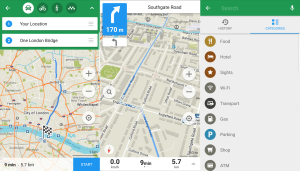 The UI of the Maps.me navigation app.