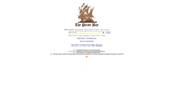 Pirate Bay Main Page