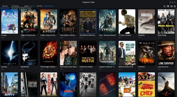 The interface for Popcorn Time.