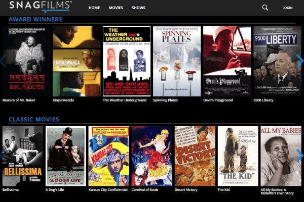 The interface of the SnagFilms app.