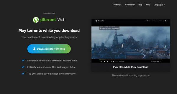 homepage of uTorrent website.