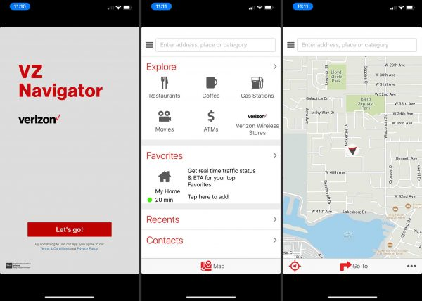 The UI of the VZ Navigator app.