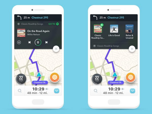 Waze's Spotify integration for easier music playing.