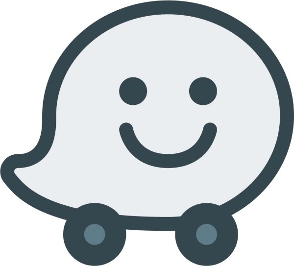 The official logo of Waze, one of the best navigation apps.