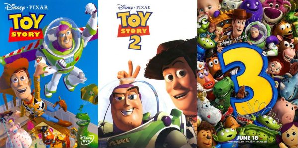 The official posters of the Toy Story trilogy.