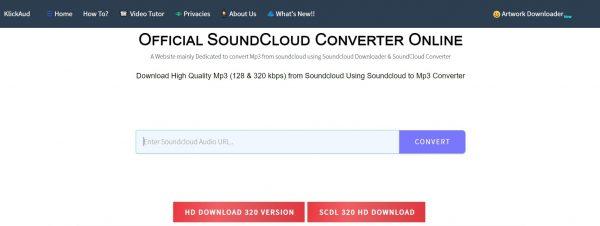 Klickaud, a SoundCloud link converter