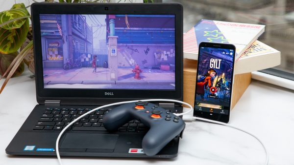 Playing games on PC with Google Stadia.