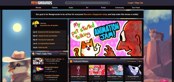 Newgrounds, a website where other content besides games are also distributed.