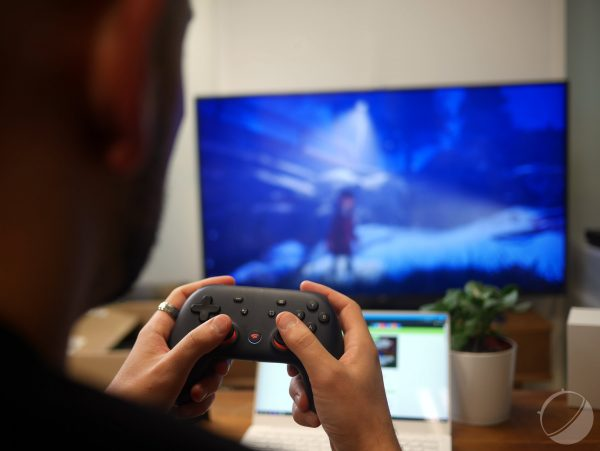 Playing games on an Android TV with Google Stadia.