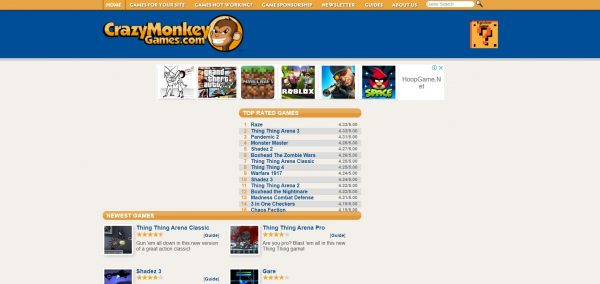 Crazy Monkey, a flash game website that helps designers.