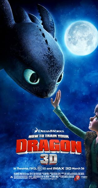 The first How to Train Your Dragon movie, released in 2010.